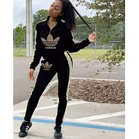 Adidas Fashion Women Long Sleeve Top High Waist Pants Set Two-Piece black