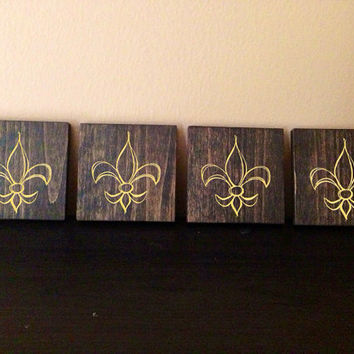 Customizable Fleur de lis Wood Coasters, Set of 4, Stained and Hand Painted, Personalize, Home decor