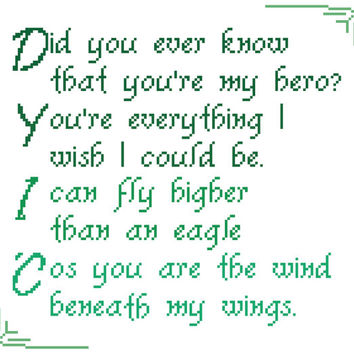 Father's Day modern typographic cross stitch pattern. Contemporary design showing the lyrics of 'Wind beneath my wings'.