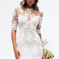 Shea Lace Dress (White/Nude)