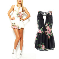 Women Summer Open Back Chiffon Floral Romper Playsuits Jumpsuit Female Overalls Elegant