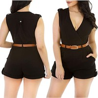Elegant Jumpsuit Women Overalls 2016 new Bodysuit Soild Short sexy Bodycon V-Neck Jumpsuits Rompers Summer Trousers With Belt