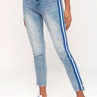 Nico Light Wash Distressed Side Stripe Mom Jeans