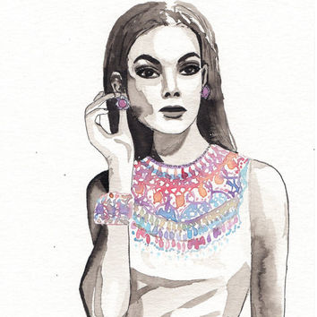 Original watercolor painting Elegant woman with colorful jewelry