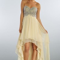 Beaded High Low Chiffon Prom Dress in Light Gold