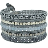 MJartoria Black Silver Color Faceted Cut Beads on Grey PU Leather 5x Wrap Bracelet with Adjustable Closures