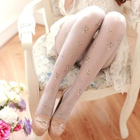 WP38 Summer style floral embroidered Pantyhose Sexy Women's Tights Stockings 5 Color sweety Lolita retro free shipping