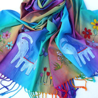 Colorful Boho Pashmina Scarf Painted Beaded Elephant Indian Bohemian Accessories FREE SHIPPING