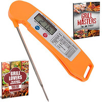 Grill Lovers Digital Instant Read Cooking Thermometer with Long Probe - Small (Orange)