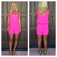 Summerland Crochet Trim Romper - HOT PINK