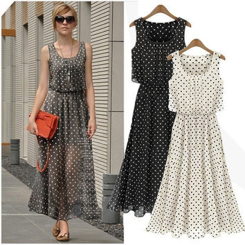 Women Sexy Summer Dot Long Maxi Evening Party Beach Prom Dresses Chiffon Skirt D_L = 1712908036