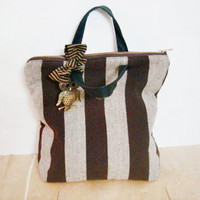 Brown Striped Handbag Laptop Tote Bag Real Leather handles Owl Accessory