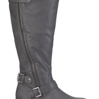 winnie wide calf riding boot in gray