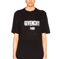 Givenchy Round Neck Logo Flag Cotton Tee Shirt Hollow Top B-KWKWM Black