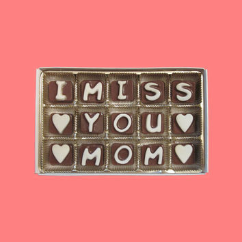 I Miss You Mom Cubic Chocolate Letters Unique Mothers Day Greeting Birthday Gift for Mommy Mother AK APO Canada International Shipping