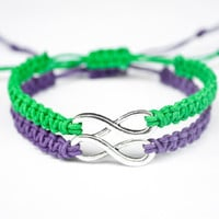 Infinity Friendship or Couples Bracelets Purple and Green Hemp