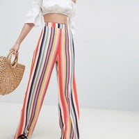 New Look Rainbow Stripe Wide Leg Trouser at asos.com