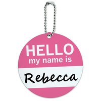 Rebecca Hello My Name Is Round ID Card Luggage Tag