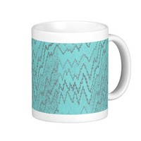 Teal and Grey Zigzag Print Coffee Cup