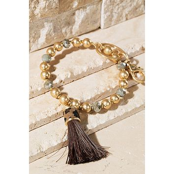 Beaded Tassel Bracelet Key Ring