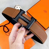 Hermes Hermes Fashion New H Letter Buckle Leather Women Men Leisure Belt Brown Width 3.8 CM With Box