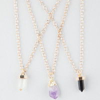 Full Tilt  3 Piece Semi Precious Stone Necklaces Gold One Size For Women 26414062101