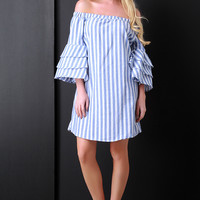 Stripe Off-The-Shoulder Ruffle Bell Sleeves Dress