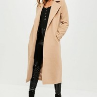 Missguided - Tall Camel Longline Faux Wool Duster Coat