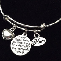 Forever Mother Stamped Word Quote Charm with Mother and Child Expandable Bracelet Adjustable Wire Bangle Trendy Gift