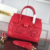 VERSACE WOMEN'S LEATHER HANDBAG INCLINED SHOULDER BAG