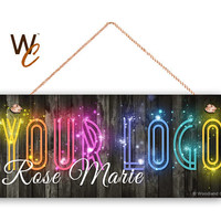 "Sparkly Company Sign, Place Your Logo on Sign, Personalized 6""x14"" Sign, Promote Business or Boutique, We Will Add Sparkles, Made To Order"
