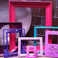 Little Girls Room Decor Pink and Purple Bright Home Decor Upcycled Vintage Frames Hollywood Regency Apartment Decor