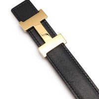 Hermes mini-con stance H belt leather black brown gold buckle F