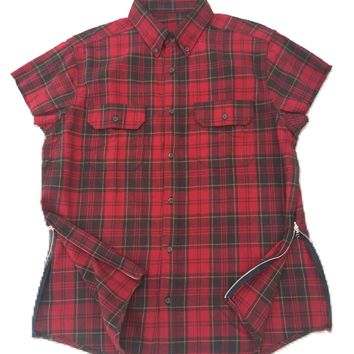 RED/BROWN Short Sleeve Flannel W/ Side Zippers