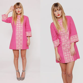 Vintage 70s Pink INDIAN Mini Dress HAND EMBROIDERED & Woven Cotton Ethnic Boho Tunic