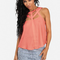 Coral Cut Out Design Tank Top