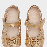 Young Versace Glitter Flats with Medusa Details for Girls | US Online Store
