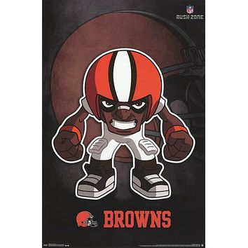 Cleveland Browns Rusher NFL Team Logo Poster 22x34