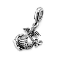 925 Sterling Silver USMC Marine Corps Dangle Bead Charm Fits Pandora Bracelet