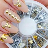 Gold and Silver Nail Decor Kit 120 Pieces