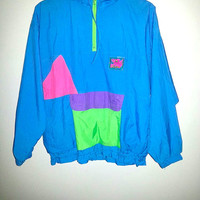 90s Vintage WINDBREAKER Colorblock NEON Action Gem Color Pink Green Purple Blue Activewear Outerwear Zip Up Saved By The Bell Pocket Surfer