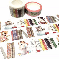 cute cat in cups washi tape 3cm x 7M book themed kawaii kitten cat sticker book themed I love reading pussy cat Extra wide masking tape