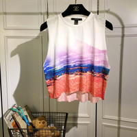 Summer Inspired Gradient Sleeveless Cropped Top