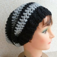 Slouchy Beanie - Crochet Black and Grey Hat with Ribbed Edge