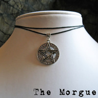 Layered Pentagram Leather Choker / Necklace - Goth Occult Pentacle Pagan Satanic