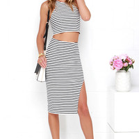 Strike the Match Navy Blue and Ivory Striped Two-Piece Dress