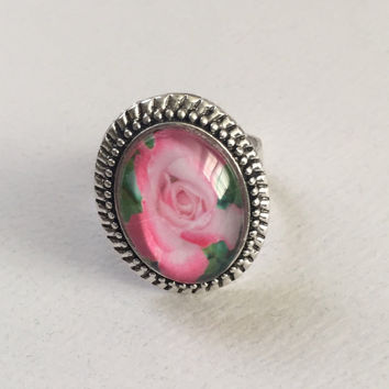 Photo Jewelry, Photo Ring, Picture Jewery, Flower Jewelry, Rose Ring, Statement Ring, Silver Jewelry,