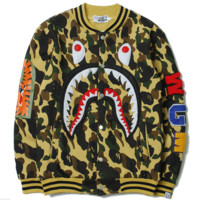 BAPE SHARK Women/Men Fashion Long Sleeve Camouflage  Sweater Sweatshirt Coat