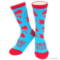 I Heart You - Heart Socks - Red and Blue