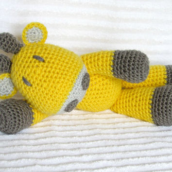 Crochet Animal, Crochet Giraffe Stuffed Animal in Yellow and Grey, Giraffe Plush, Yellow and Gray Giraffe, Stuffed Giraffe, Yellow Nursery